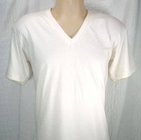 V-Neck Smooth Knit Organic T-Shirt in Natural