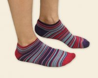 Cushion Footie Socks in Cute Fuschia & Blue Stripes
