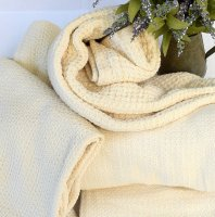 Throw Size Organic Cotton Blankets - Natural