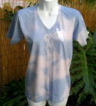 Organic V-Neck Tee Soft Blue Tie-Dye Small