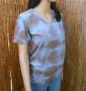 Organic V-Neck Tee Blue Tie-Dye Small