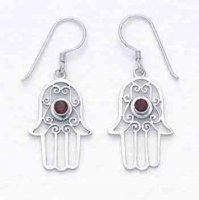Blessing Hand Silver with Garnet Fair-trade Earrings