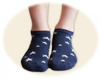 Cushion Footie 2-Pack in Navy Stars & Solid