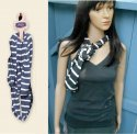 Blue or Gray Stripe Organic Cotton Infinity Scarf