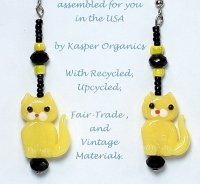 Yellow Cat Glass Bead Earrings