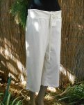 Drawstring French Tery Stretch Capri Pants