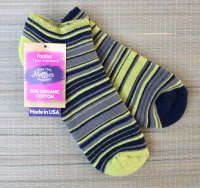 Organic Cush Footie Socks in Stripes Green & Gray