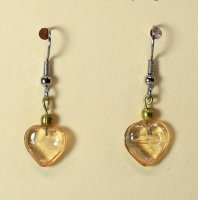 Recycled Amber Glass Heart Earrings